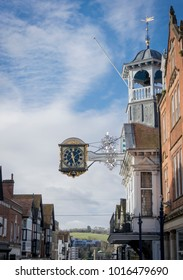 GUILDFORD, SURREY, JANUARY 2015 - Clock on the Town Hall in High Street, Guildford Surrey, UK