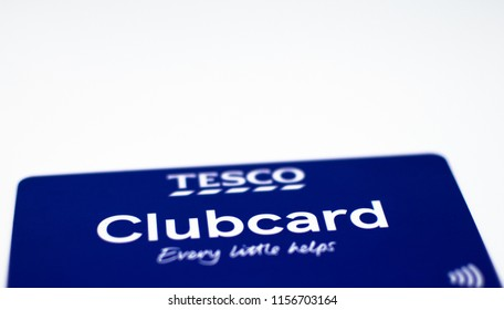 Guildford, UK - August 09TH 2018: A close-up of the Tesco Clubcard, on 09th August 2018.