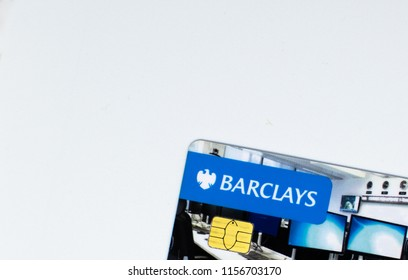 Guildford, UK - August 09TH 2018: A close-up of the Barclays Personalised Debit Card , on 09th August 2018.