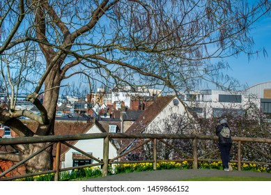 Guildford, UK -  Feb 18, 2019 : from the top of the Guildford Castle