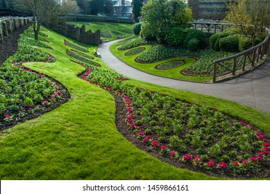 Guildford, UK -  Feb 18, 2019 : Beautiful garden infront Guildford Castle Grounds.