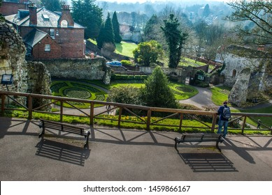 Guildford, UK -  Feb 18, 2019 : Views from the top of the Guildford Castle
