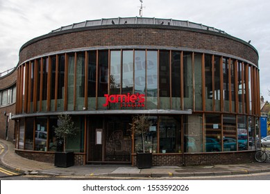 Guildford, United Kingdom - November 06 2019:   The frontage of a closed down Jamie's Italian Restaurant on North Street