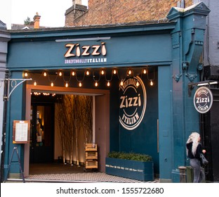 Guildford, United Kingdom - November 06 2019:   The frontage of Zizzi Restaurant on Hgh Street