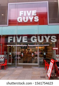 Guildford, United Kingdom - November 06 2019:   The Entrance to Five Guys restaurant on Friary St