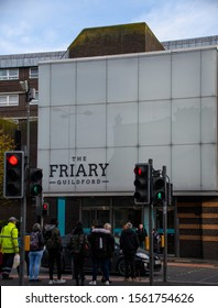 Guildford, United Kingdom - November 06 2019:   The entrance to the Friary Shopping Centre on Bridge Street