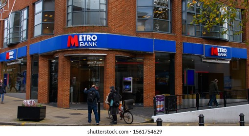 Guildford, United Kingdom - November 06 2019:   The entrance to the Metro Bank Branch on North Street