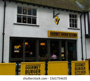 Guildford, United Kingdom - November 06 2019:   The entrance to Gourmet Burger Kitchen on Friary St