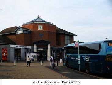 Guildford, United Kingdom - November 06 2019:   The Entrance to Guildford Railway Station on Walnut Tree Close