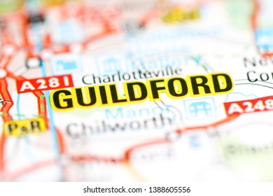 Guildford. United Kingdom on a geography map