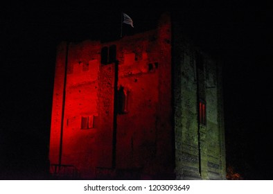 Guildford's castle keep has turned red, in this photo taken on a warm October night