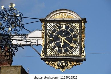 Guildford's famous clock on a clear blue day in mid-summer