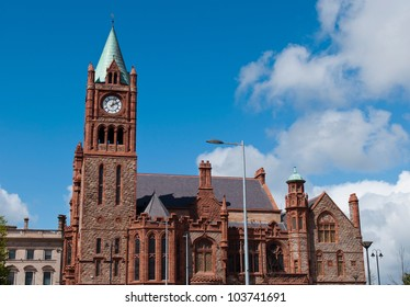 The Guildhall, neo-gothic building located at the main city square in Londonderry, Northern Ireland