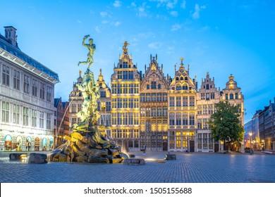 Guildhalls of Grote Markt of Antwerp in Belgium.