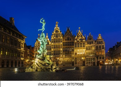 Guildhouses in Grote Markt (Big Market Square) in the old town of Antwerp, Belgium at twilight.