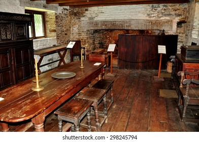 Guilford, Connecticut - July 10, 2015:  Interior of the great hall with dining table and 17th century furnishings at the 1639 Henry Whitfield House and Museum