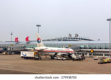 GUILIN, CHINA - APR 30, 2015: China Eastern Airlines flight in Guilin Liangjiang International Airport. In 2014, it was the 33rd busiest airport in China with 5875327 people.