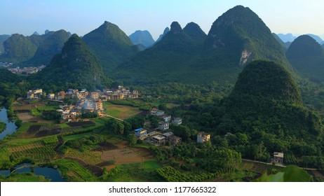GUILIN, CHINA, JUNE 17, 2018;High angle view of Guilin, Yangshuo