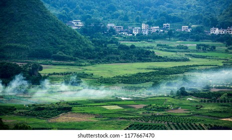 GUILIN, CHINA, JUNE 17, 2018;High angle view of Guilin, Yangshuo