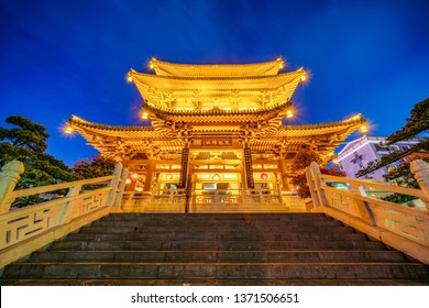 GUILIN, CHINA - NOVEMBER 01: This is a night view of a traditional Chinese heritage building on November 01, 2018 in Guilin