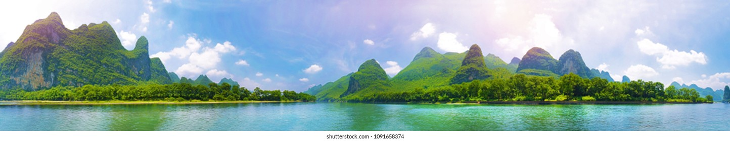 Guilin river 360 panorama photo from middle of the river