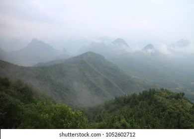 Guilin Yaoshan Yaoshan Mountain Scenic Spot clouds around the cable car ropeway after the rain