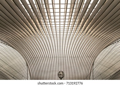 Guillemins station with station clock, Liege, Belgium