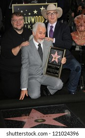 Guillermo Del Toro, Rick Baker, Barry Sonnenfeld at the Rick Baker Star on the Hollywood Walk of Fame Ceremony, Hollywood, CA 11-30-12