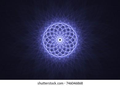 Guilloche grid on a dark blue background, fractal