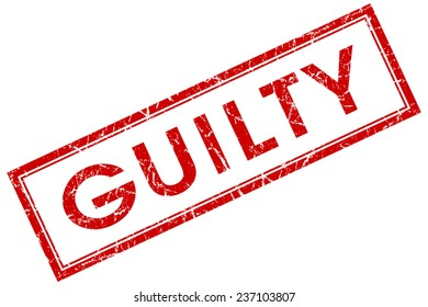 guilty red square stamp isolated on white background