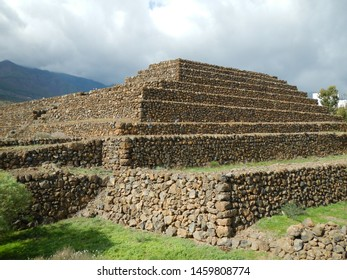 Guimar, Santa Cruz de Tenerife / Spain - 11 17 2012:The Pyramids of Güímar rectangular pyramids built from lava stone. They are located in the district of Chacona, part of the town of Güímar.