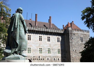 Guimaraes Castle and Statue of King Afonso Henriques, first king of Portugal