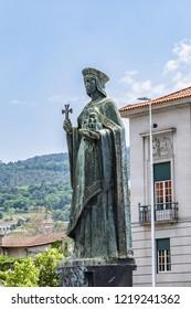 GUIMARAES, PORTUGAL - APRIL 19, 2017: Statue of Mumadona (1960) in Guimaraes opposite Palace of Justice. Mumadona Dias (or Muniadomna Diaz, died in 968) was a Countess of Portugal.