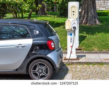 Guimaraes, Portugal - April 2018: electromobile at charging