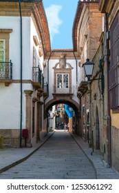 Guimaraes, Portugal - April 2018: narrow streets of the city center