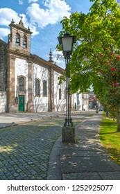 Guimaraes, Portugal - April 2018: stroll at the town streets