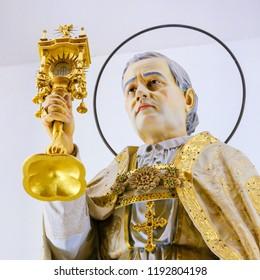 Guimaraes, Portugal - August 7, 2014: Statue of Pope Pius X in the Sanctuary of the Rock (Santuario da Penha) in Guimaraes, Portugal