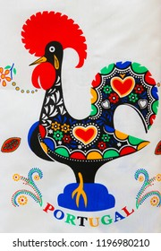Guimaraes, Portugal - August 7, 2014: Typical Rooster of Barcelos, a symbol of Portuguese culture and emblem of Portugal, on merchandise in the center of Guimaraes, Portugal.