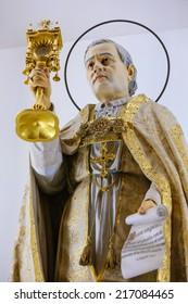 GUIMARAES, PORTUGAL - AUGUST 7, 2014: Statue of Pope Pius X in the Sanctuary of the Rock (Santuario da Penha) in Guimaraes, Portugal.