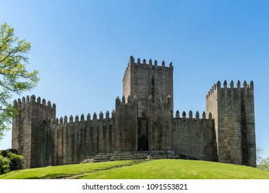 GUIMARAES, PORTUGAL - CIRCA APRIL 2018: The Castle of Guimaraes in the northern region of Portugal. It was built at the end of the 13th century following French influences.