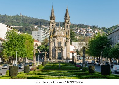 GUIMARAES, PORTUGAL - CIRCA APRIL 2018: Church of Nossa Senhora da Oliveira in Guimaraes. The city was settled in the 9th century at which time it was called Vimaranes