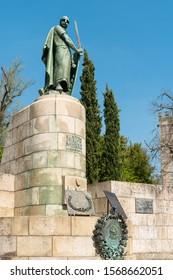 Guimaraes, Portugal - CIRCA APRIL 2018 : Statue of the first king of Portugal D Afonso Henriques. Guimaraes, Portugal