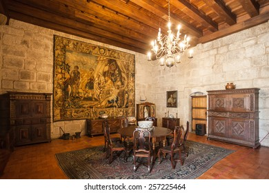 GUIMARAES, PORTUGAL - JULY 11: Inside the Palace of the Duques of Braganza on July 11, 2014 in Guimaraes, Portugal
