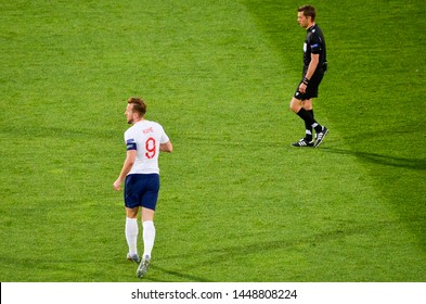 GUIMARAES, PORTUGAL - June 05, 2019: Harry Kane during the UEFA Nations League semi Finals match between national team England and Netherlands at the Estadio D. Afonso Henriques, Portugal