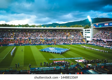 GUIMARAES, PORTUGAL - June 05, 2019: Opening Ceremony of the UEFA Nations League   at the Estadio D. Afonso Henriques during the semi Finals match between England and Netherlands, Portugal