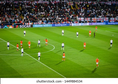 GUIMARAES, PORTUGAL - June 05, 2019: Football player during the UEFA Nations League semi Finals match between national team England and Netherlands at the Estadio D. Afonso Henriques, Portugal