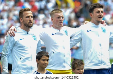 GUIMARAES, PORTUGAL - June 09, 2019: England football players stand in a row before the UEFA Nations League Finals match for third place between Switzerland and England, Portugal