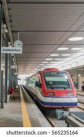 GUIMARAES, PORTUGAL - JUNE 12: Alfa Pendular at Guimaraes Station on June 12, 2016. Alfa Pendular is the name of the Pendolino high-speed tilting train of Portuguese state railway company CP.