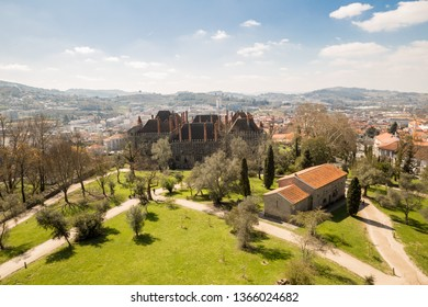 Guimaraes, Portugal - March 27th, 2018: The Palace Paço dos Duques de Bragança from in a panoramic view