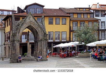 Guimaraes, Portugal - May 19, 2018: View of Oliveira Square in old town of Guimaraes